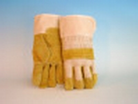 Rundsplitlederen handschoen met palmversterking, geel