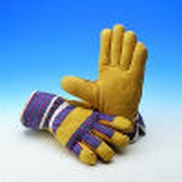 Varkenslnerflederen handschoen, geel, ongevoerd
