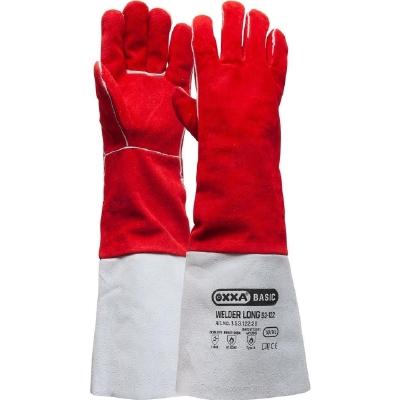 Lashandschoen van grijs splitleder, met 15 cm kap  Paar