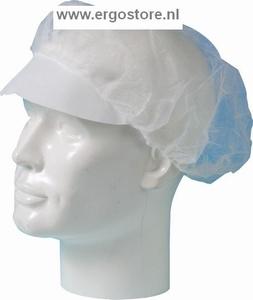 Baret PP nonwoven model haarnet met klep wit, 100 st/zak  Stuks