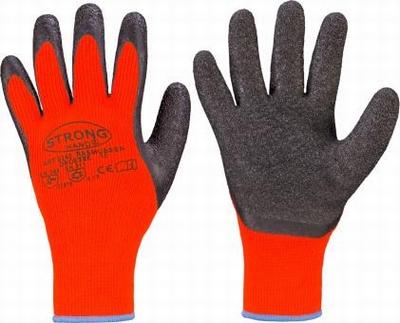 Rasmussens oranje handsch. latex coat, cold isolated  paar