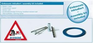 DPKDS d80 inbouwset, popnagels, afstandhouder, metaalboor