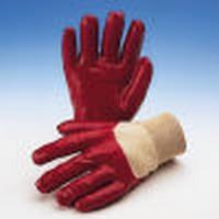 Handschoen PVC rood handrug fullcoated tricot manchet, Cat.2  Paar