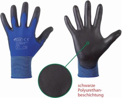 Stronghand Lintau, X-Light, 100% blue nylon, zwart PU coated