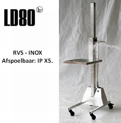 Lift Trolley LD80 RVS / INOX hef- en tilhulp - 80 kg  stuks