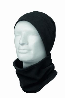 Koudebeschermset fleece muts en sjaal met verstelklittenband