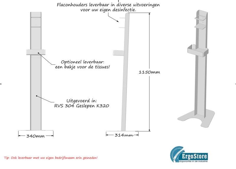 Desinfectie - hygiënestation uit RVS voor flacons en tissues