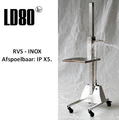 Lift Trolley LD80 RVS / INOX hef- en tilhulp - 80 kg