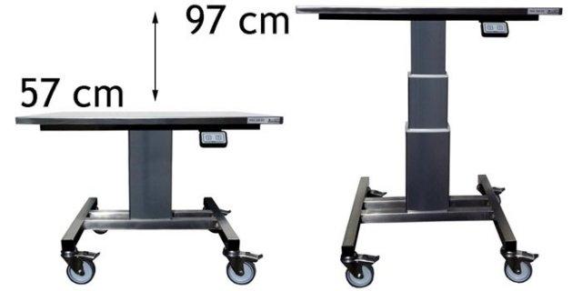 RVS / Inox Limbo - hoogteverstelbare verrijdbare heftafel