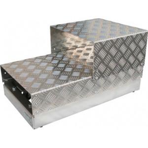 Voetplatform mobiel - Palle uit aluminium + RVS met wielen
