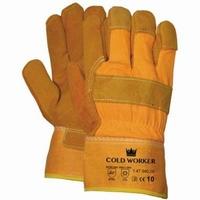 Splitlederen winterhandschoen, Cat.1, gele kap Paar