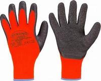 Rasmussens oranje handsch. latex coat, cold isolated