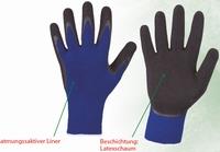 LeafGrip, 100% blue Terylene®, black latex-foam coating Paar
