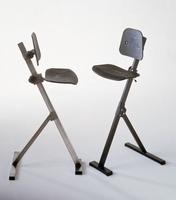 Global zit-sta stoel uit roestvaststaal (inox/rvs) 50-80 cm