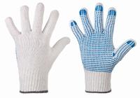 Rondgebreide handschoen, met pvc nop, enkelzijdig genopt