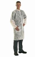 Laboratoriumjas wit, met zakken, Polypropylene, drukknopsl.,